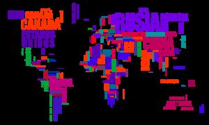 Mapamundi tipográfico